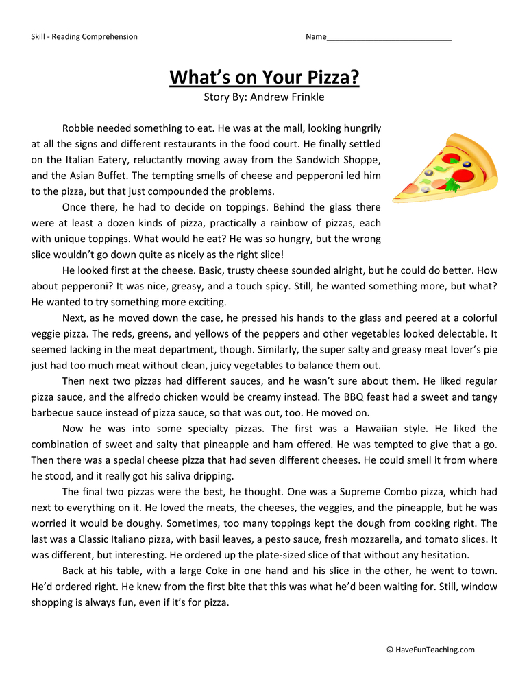 What's On Your Pizza? Fifth Grade Reading Comprehension Tes