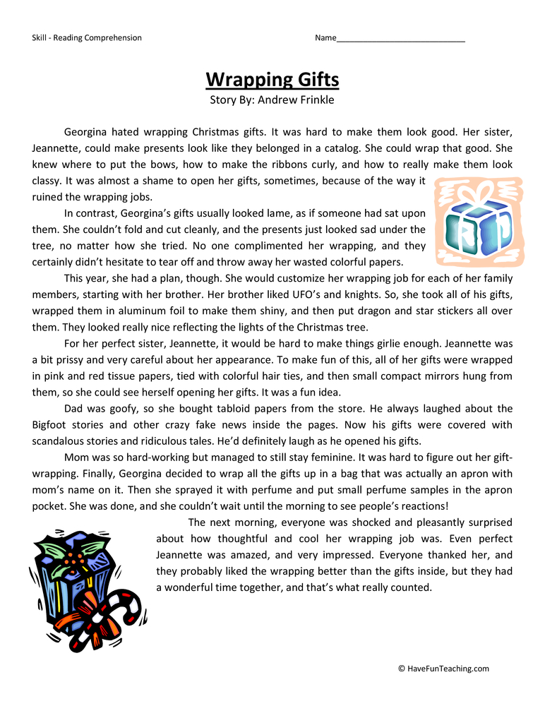 Wrapping Presents Fifth Grade Reading Comprehension Test