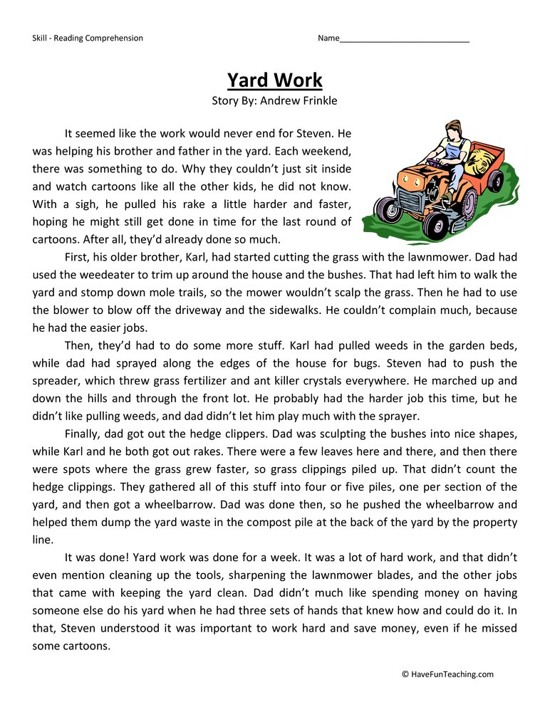 Yard Work Fifth Grade Reading Comprehension Test