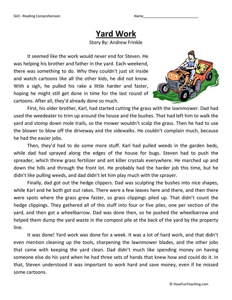 Fifth Grade Reading Comprehension Worksheet - Yard Work | Have Fun ...