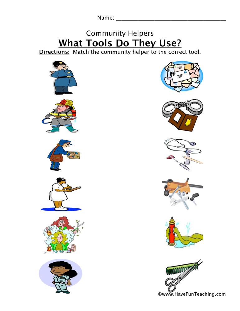 Community Helper Tools Worksheet 1