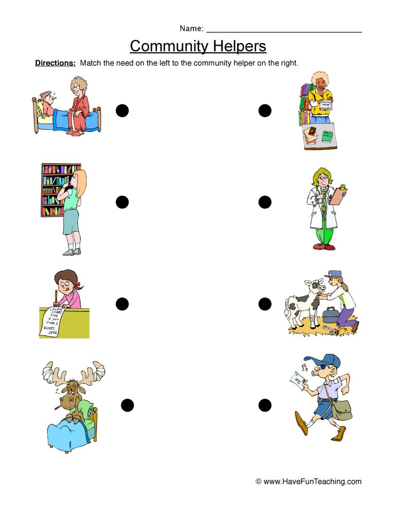 Worksheets Teacher Helper Worksheets community helper worksheet matching