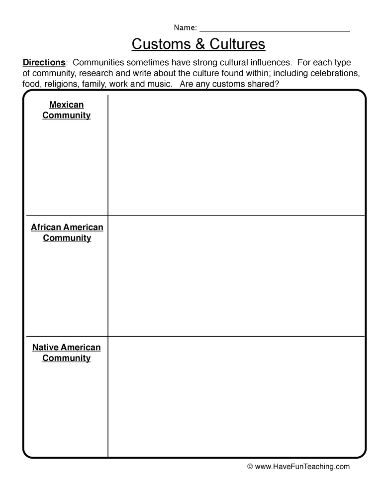 Customs and Cultures Worksheet 1