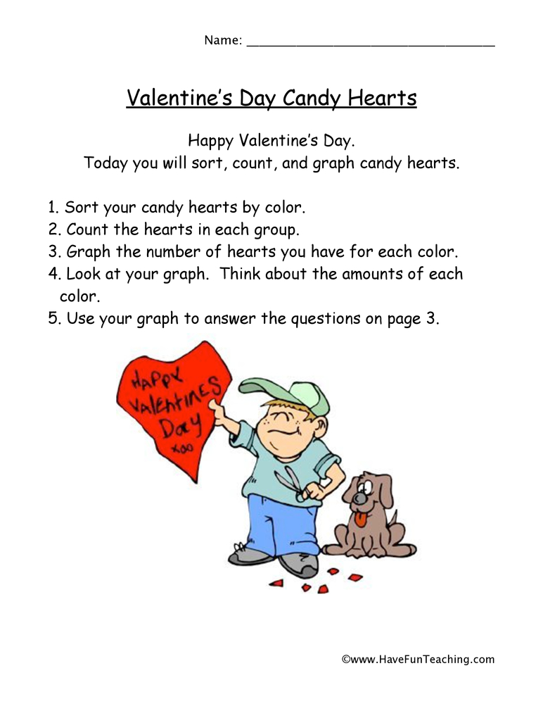 valentines day heart graph worksheet