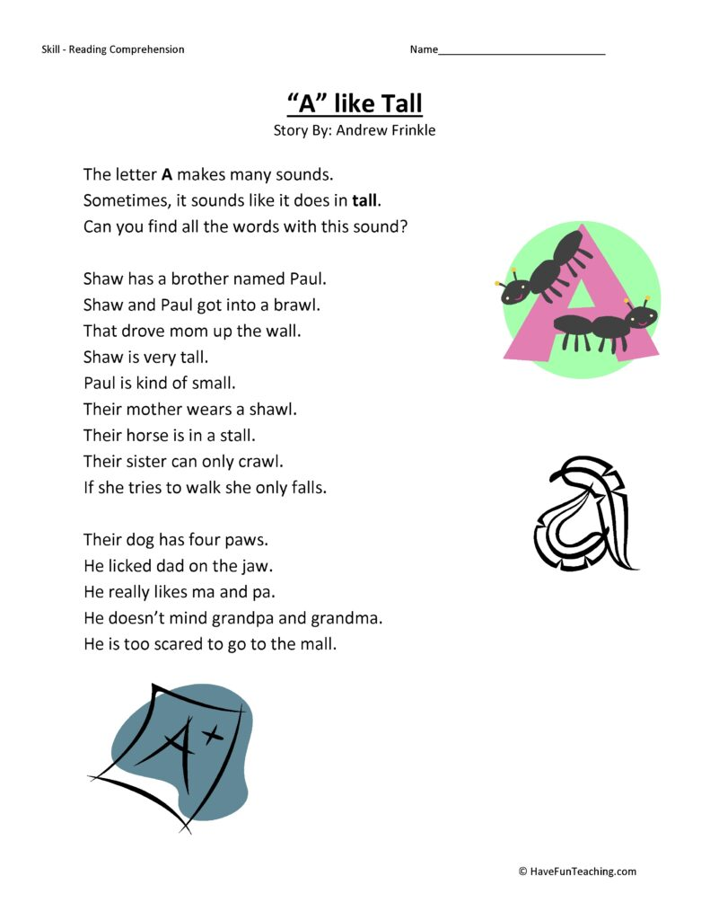 A Like Tall Reading Comprehension Worksheet Have Fun
