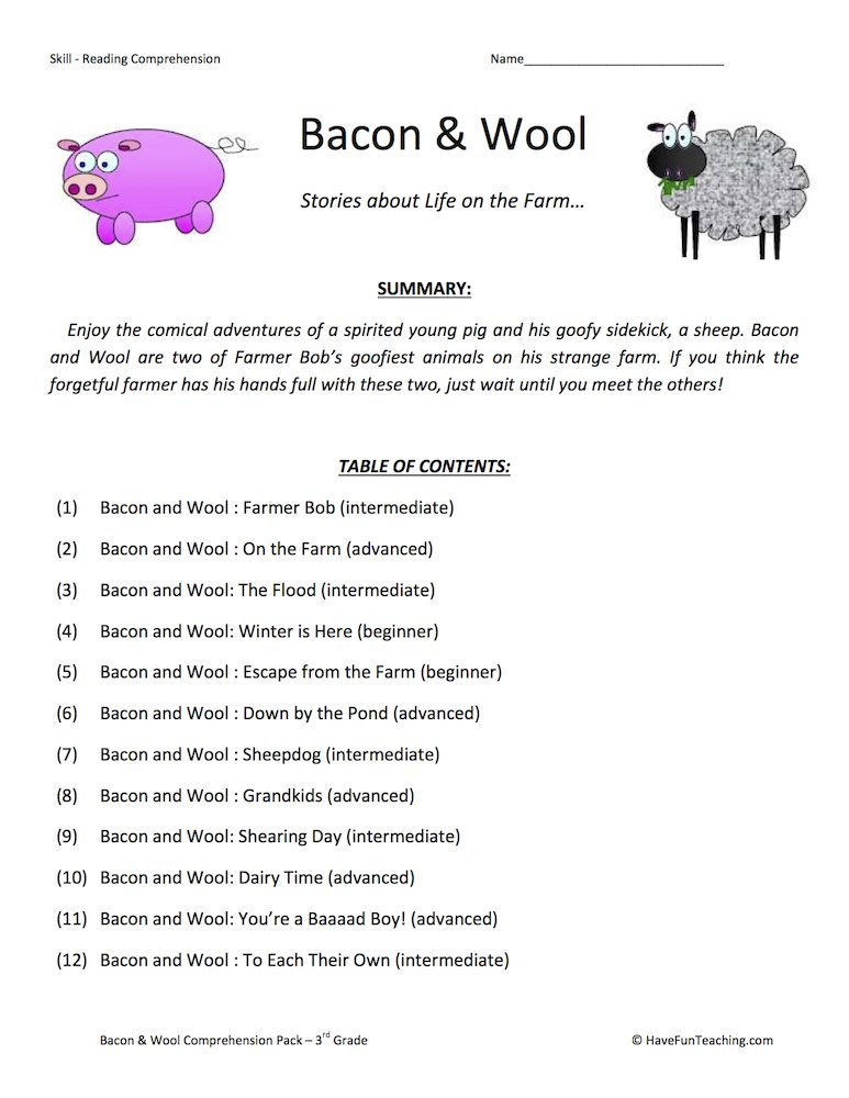 Third Graders Worksheets : Third grade reading comprehension worksheets have fun