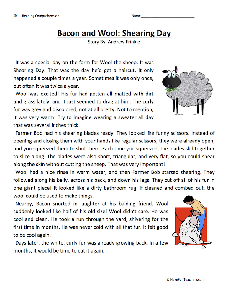 Fun Worksheets For 3rd Grade : Third grade reading comprehension worksheets have fun