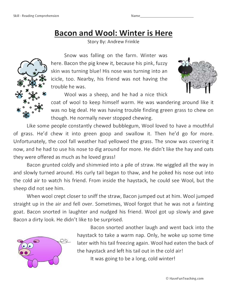 Bacon and Wool Winter is Here Reading Comprehension Worksheet