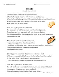 bread! third grade reading comprehension worksheet