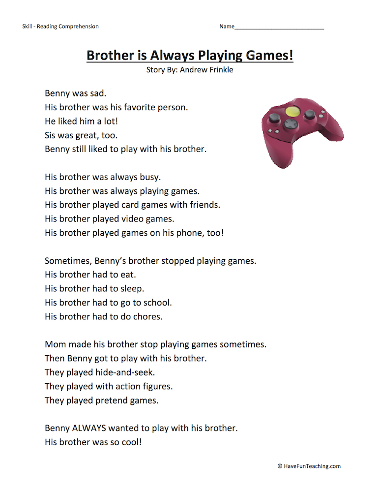 Brother Is Always Playing Games – Reading Comprehension Worksheet