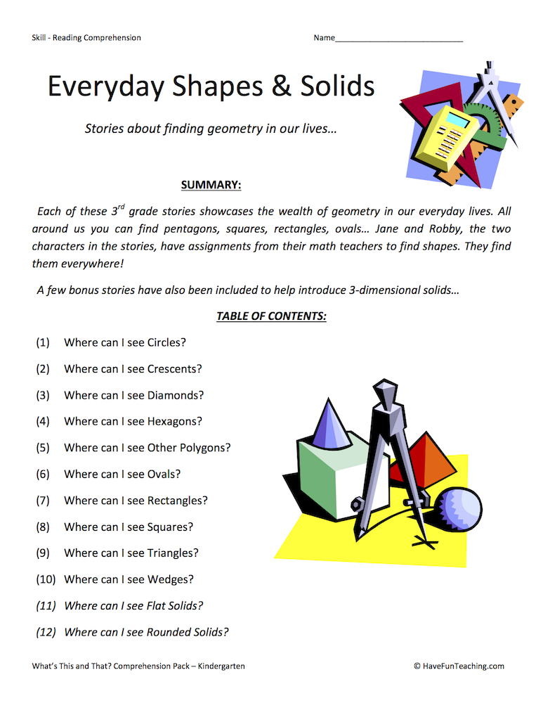 Shapes Worksheets Have Fun Teaching. Everyday Shapes Solids Reading Prehension Test Collectio. Worksheet. 1st Grade Shapes Worksheets At Clickcart.co