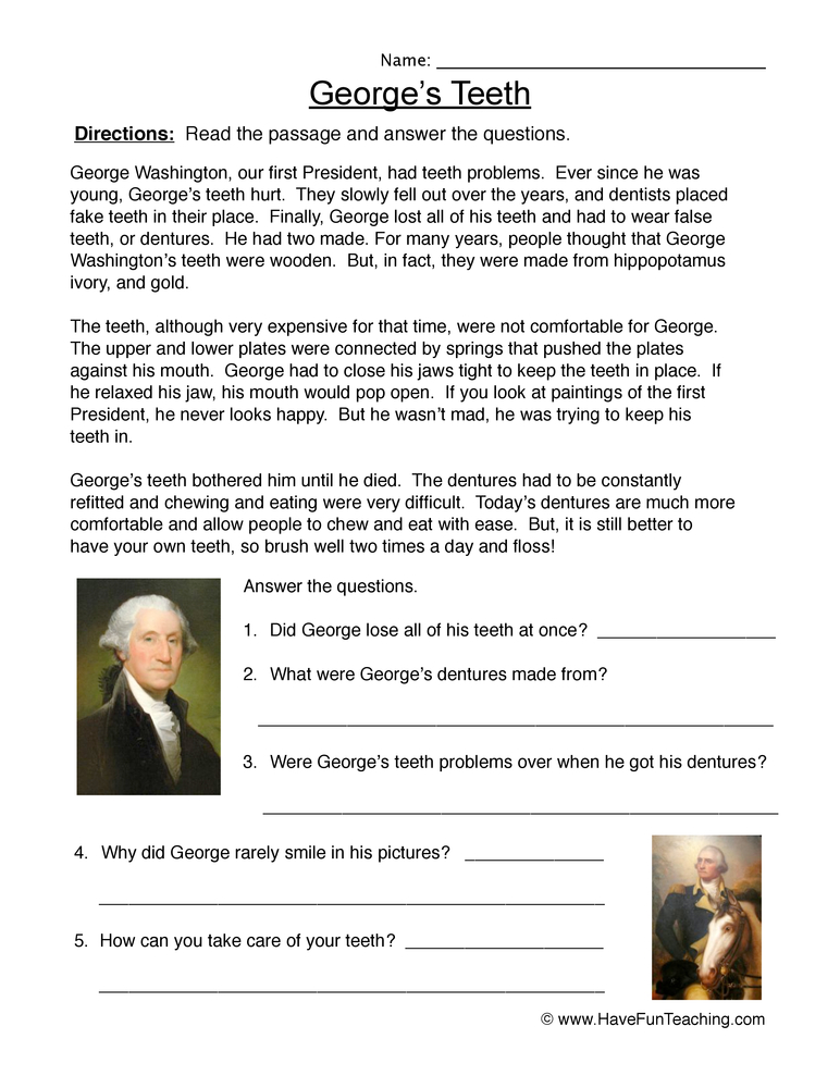 George Washington Worksheet Story – George Washington Worksheet