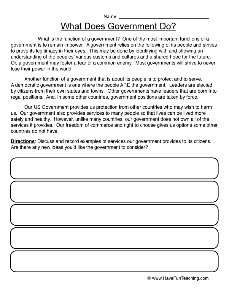 Worksheets Government Worksheet government functions worksheet have fun teaching worksheet
