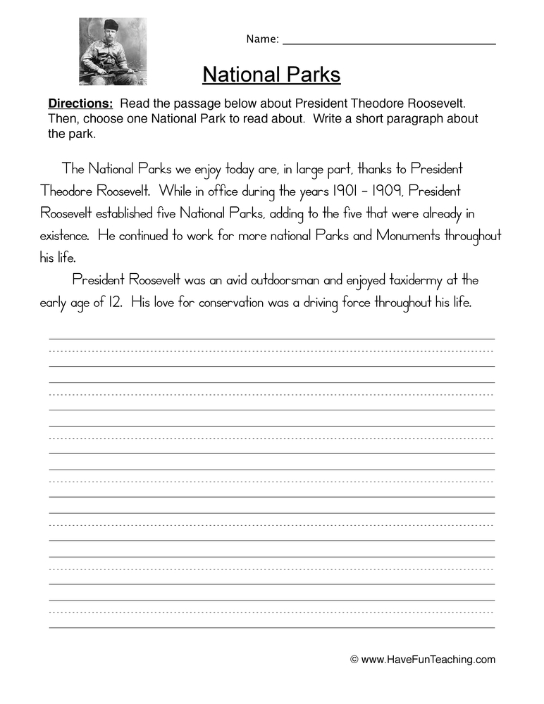national park worksheet 1
