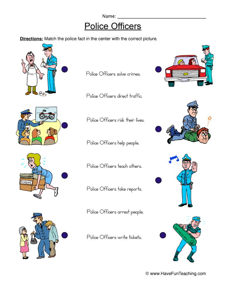 police officers worksheet 1