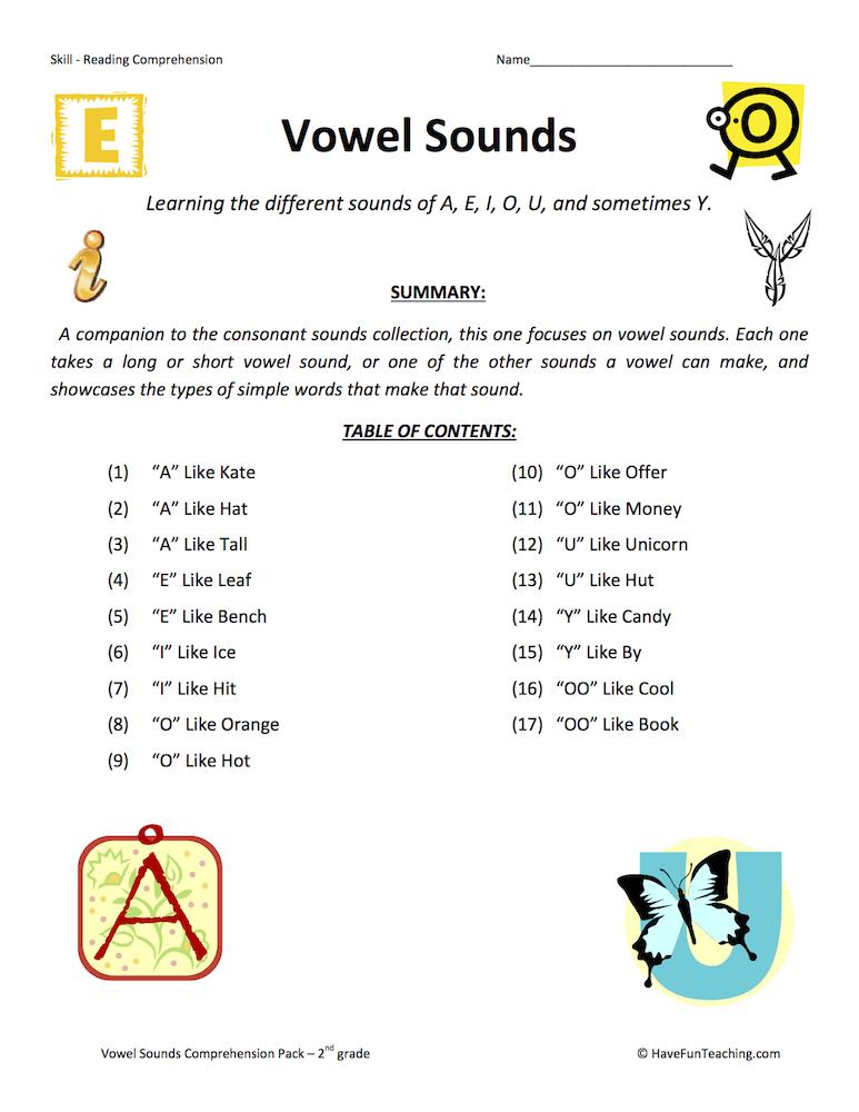 Vowel Sounds Reading Comprehension Test Collection • Have ...
