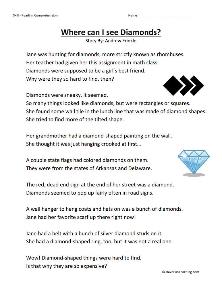 Where Can I See Diamonds? – Reading Comprehension Worksheet