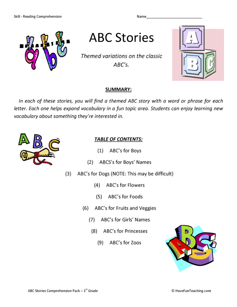 ABC Stories Reading Prehension Test Collection