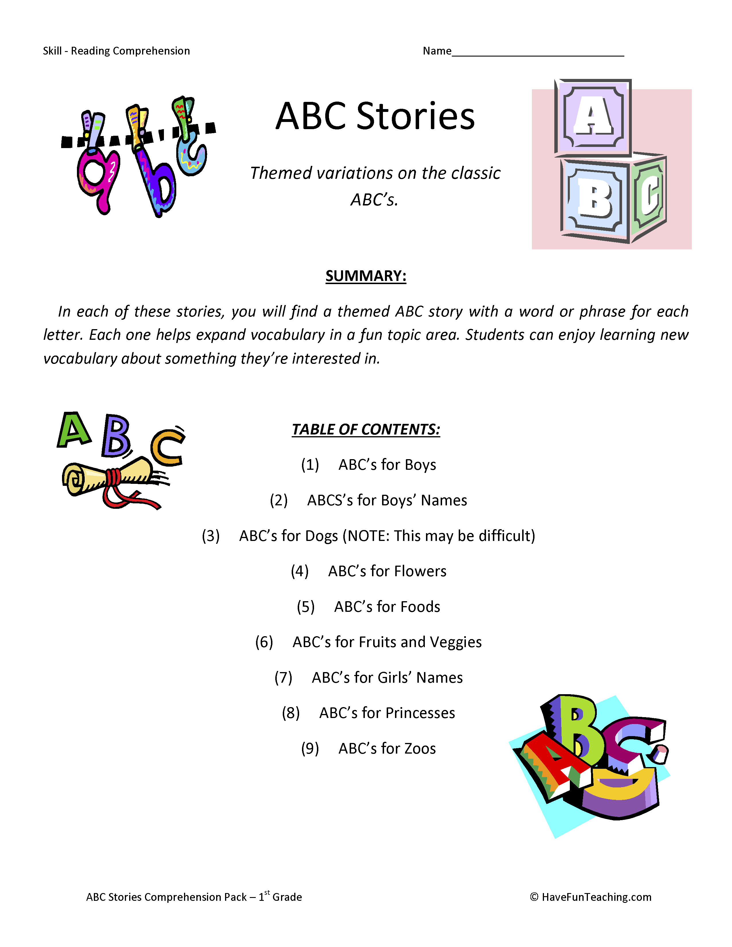 worksheet Free Reading Comprehension Worksheets For 1st Grade first grade reading comprehension worksheets have fun teaching abc alphabet stories worksheets