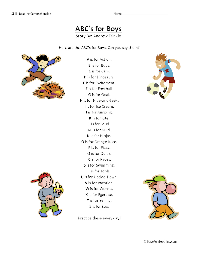 ABCs Alphabet for Boys Reading Comprehension Worksheets