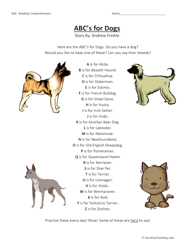 ABCs Alphabet for Dogs Reading Comprehension Worksheets
