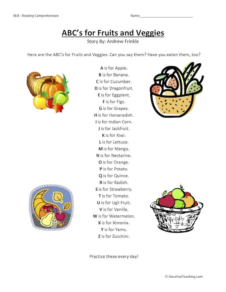 First Grade Reading Prehension Worksheets Have Fun Teaching. Abcs For Fruits And Veggies Reading Prehension Worksheet. First Grade. Printable First Grade Reading Worksheets At Clickcart.co