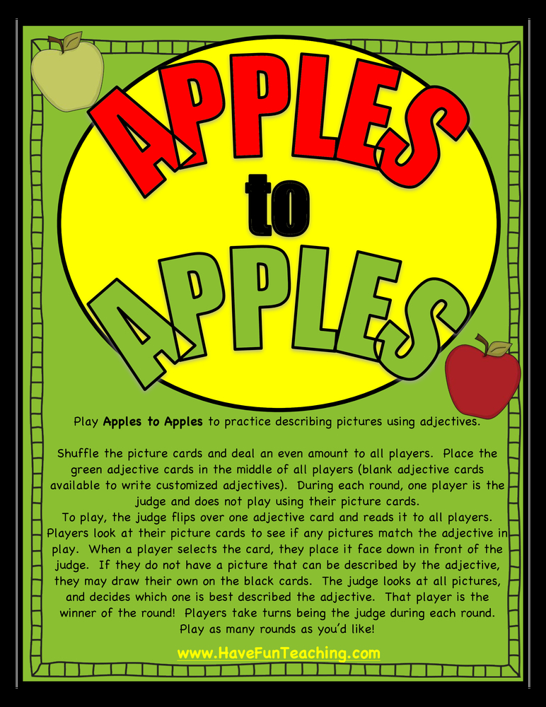 Free Printable Apples to Apples