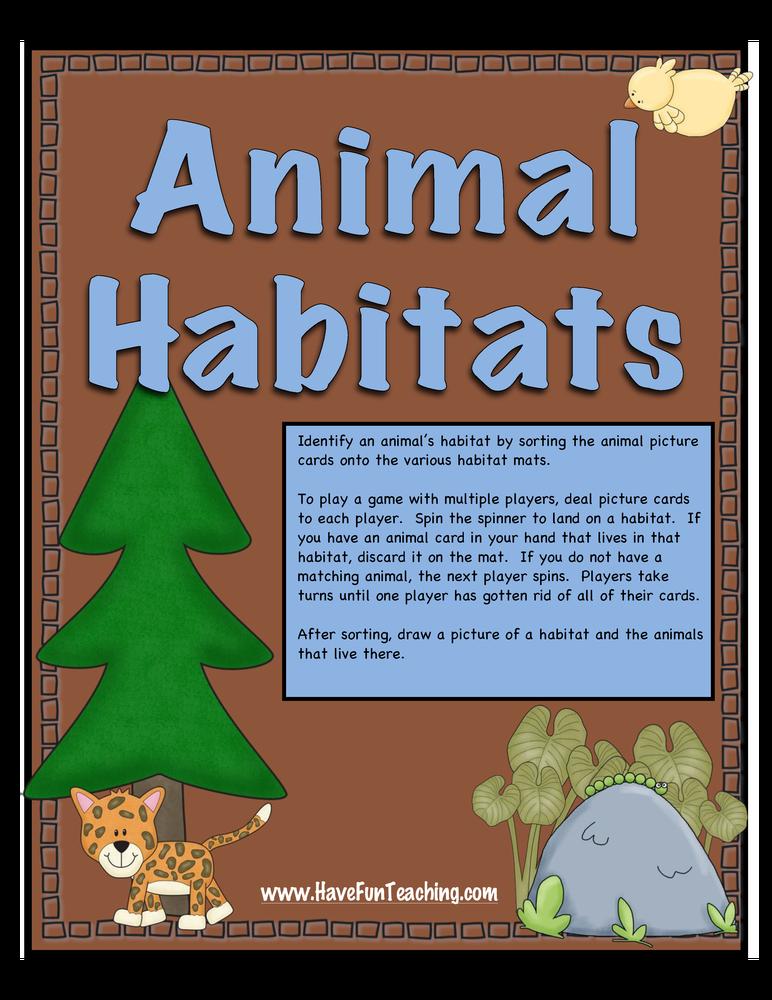 animal habitats activity