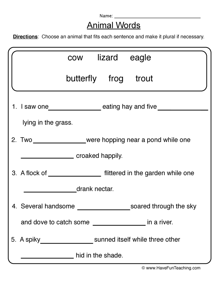 Animal Words Singular Plural Worksheet