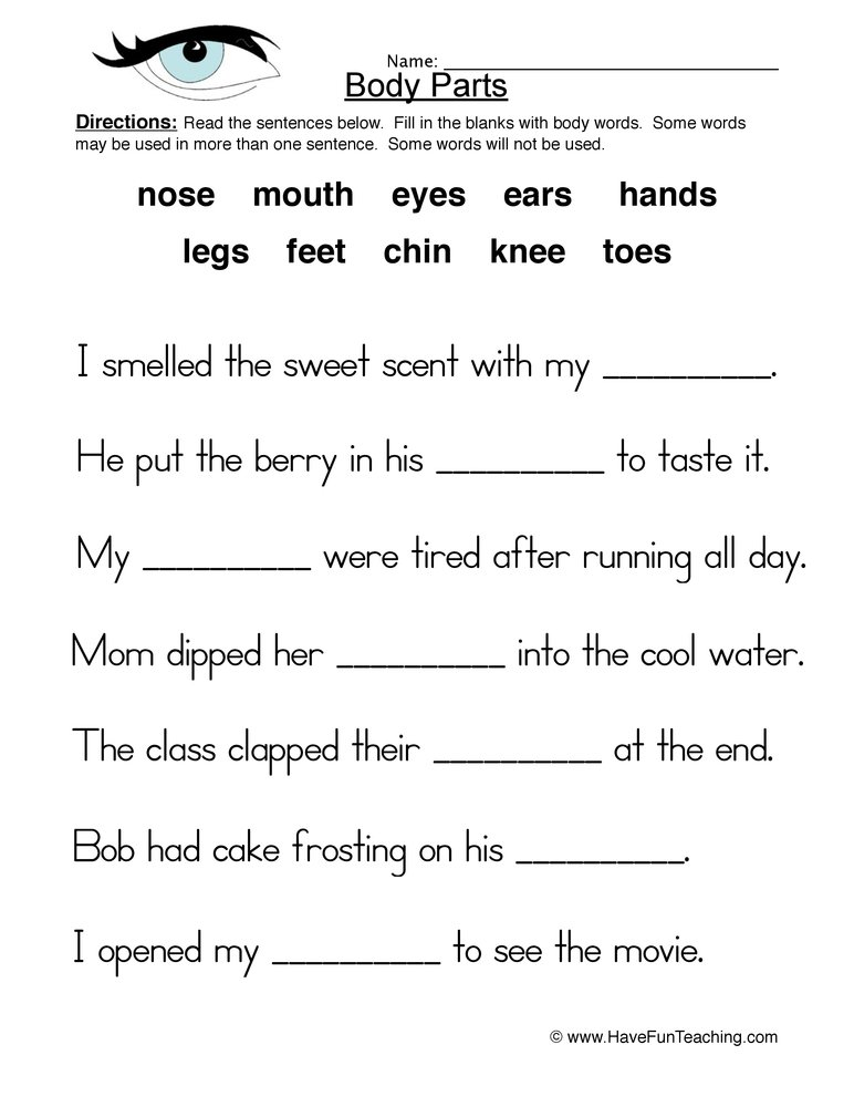 Body Parts Worksheet – Fill in the Blanks