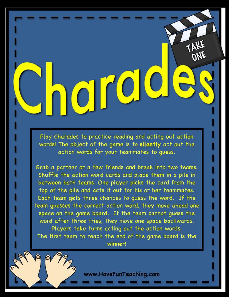 charades verbs activity