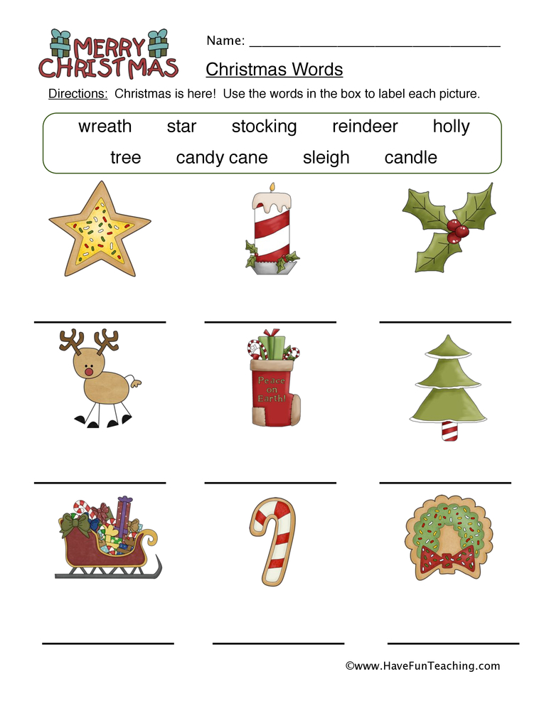 christmas words worksheet 1