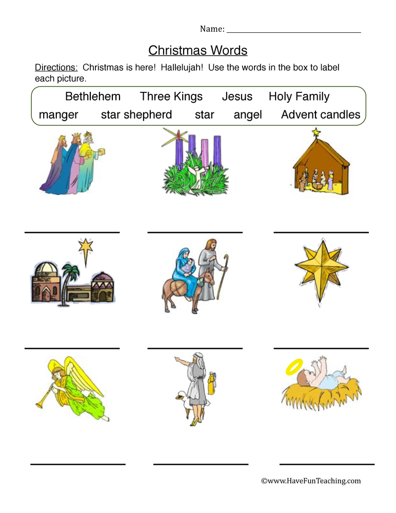 Christmas Words Worksheet - Matching Religious Words