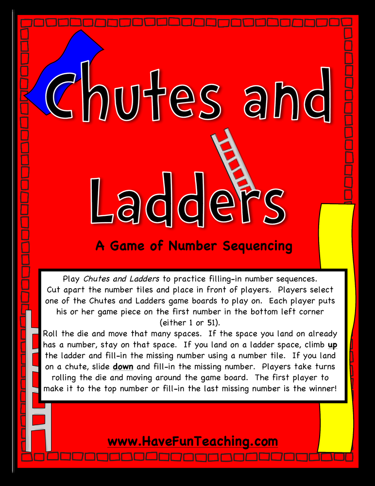 chutes and ladders number sequencing activity
