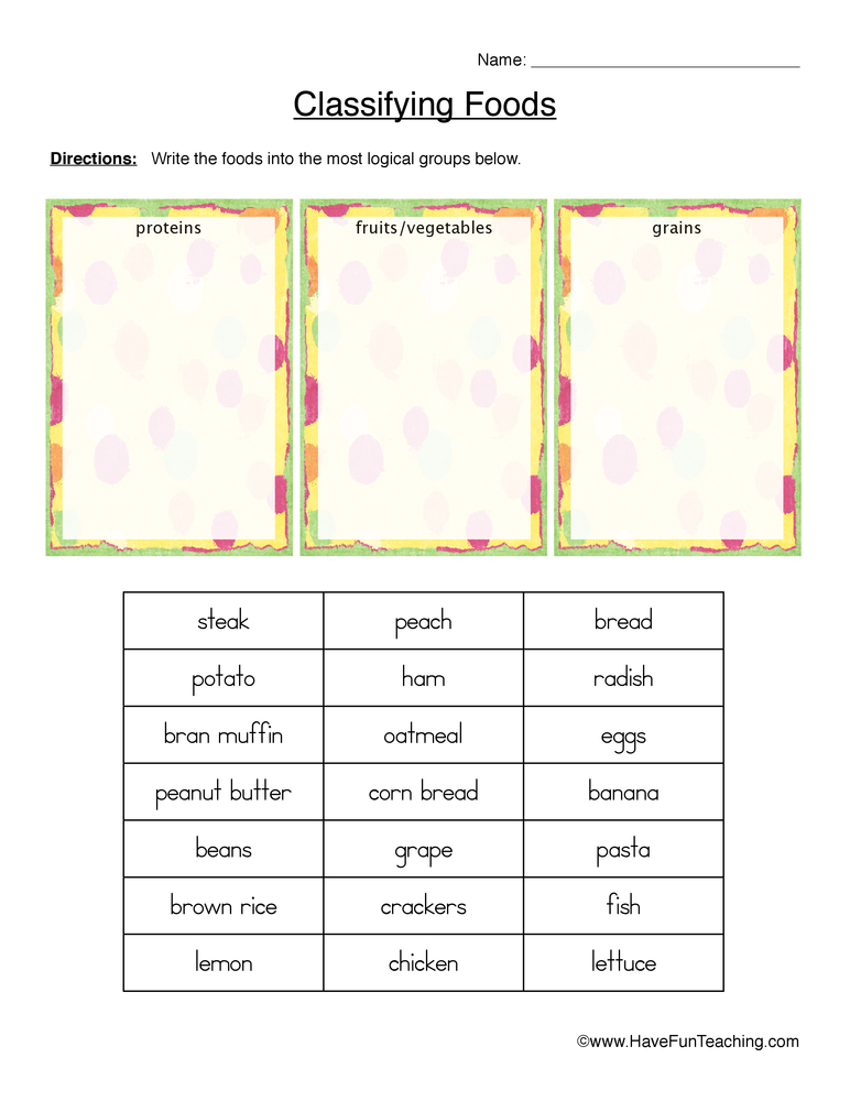 classifying food worksheet proteins grains fruits and veggies. Black Bedroom Furniture Sets. Home Design Ideas