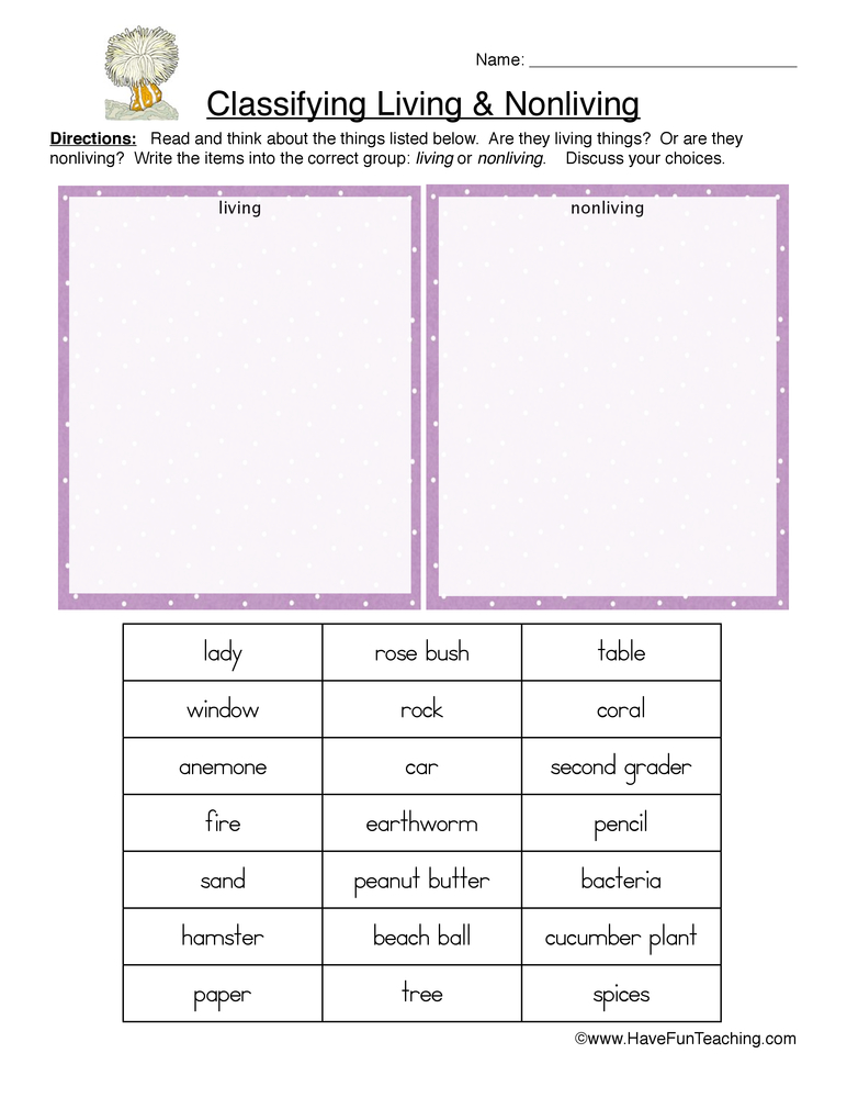 Classifying Living and Nonliving Things Worksheet