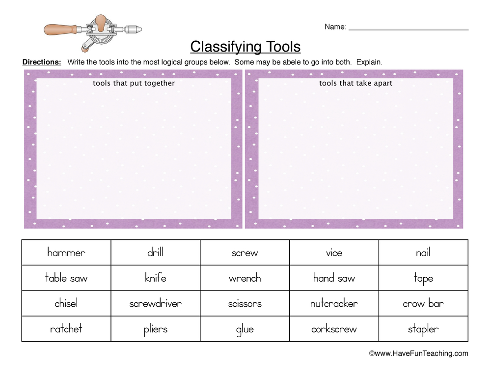 Physical Science Worksheets Have Fun Teaching. Classifying Tools Worksheet. Worksheet. Science Tools Worksheets At Mspartners.co