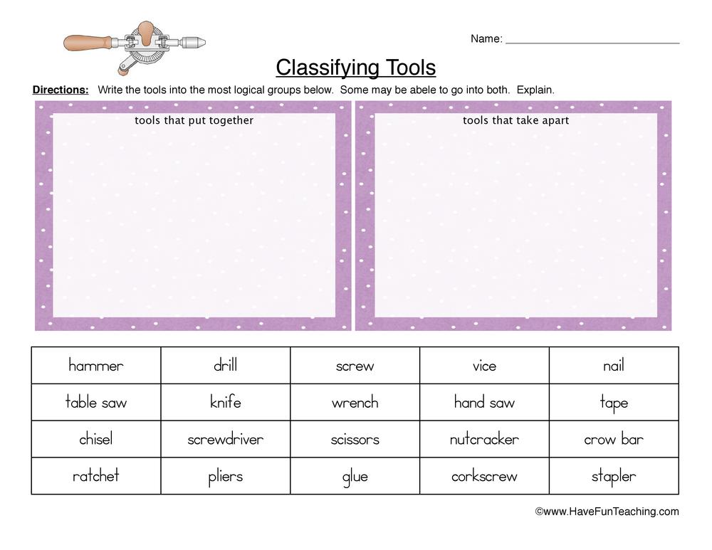 classifying tools worksheet 1