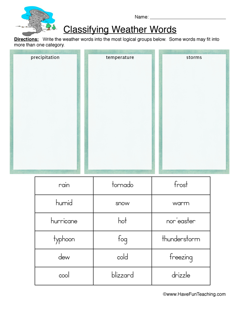 Classifying Weather Worksheet – Precipitation, Temperature, and ...