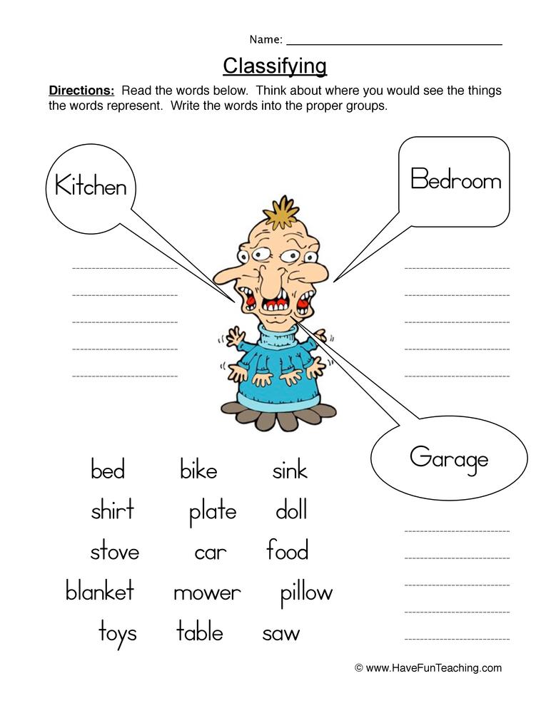 classifying worksheet 1