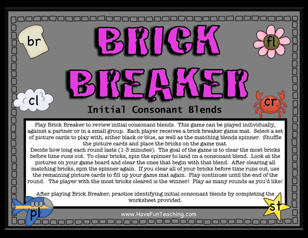 Brick Breaker Consonant Blends Activity