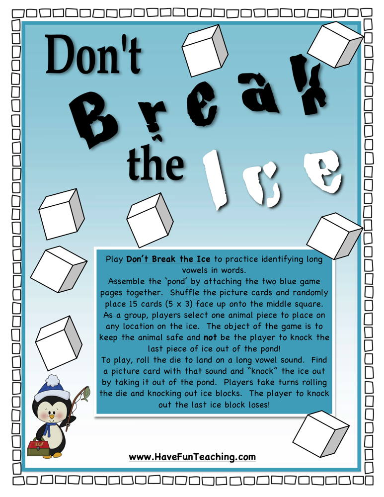 Don't Break the Ice Long Vowels Activity