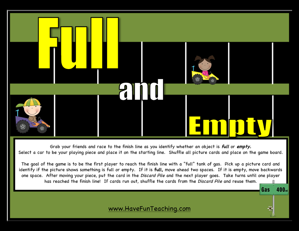 Full and Empty Opposites Activity