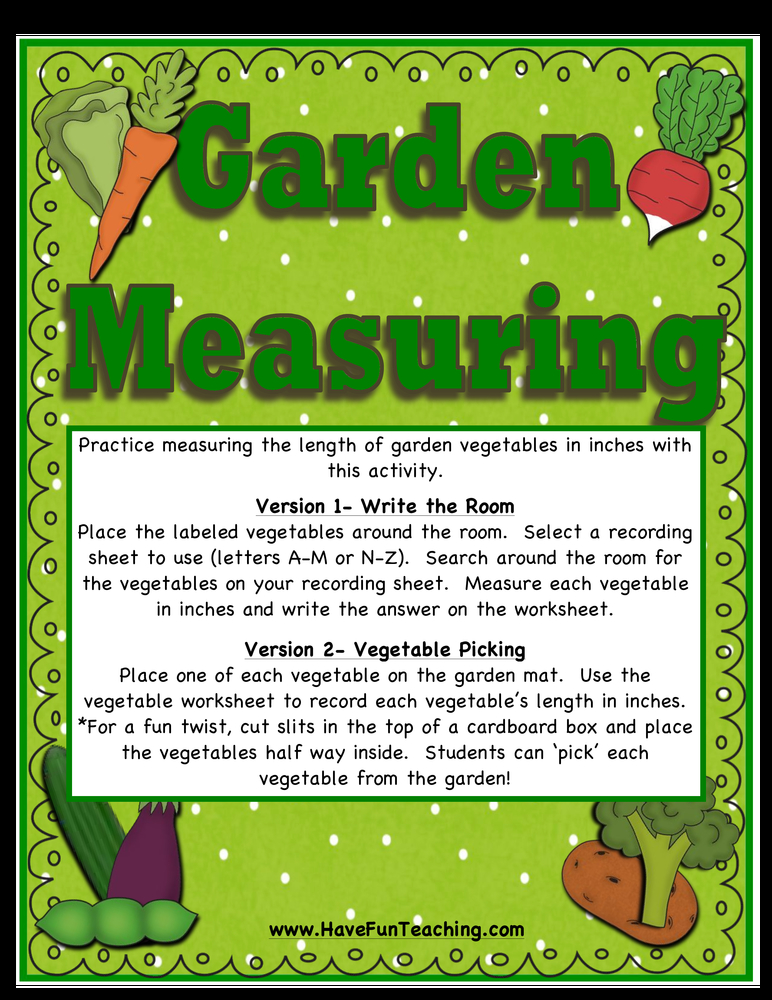 garden measuring activity
