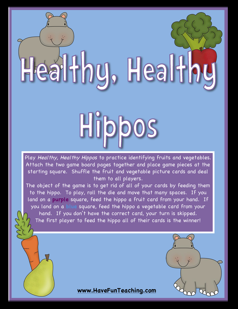 healthy healthy hippos fruits vegetables activity