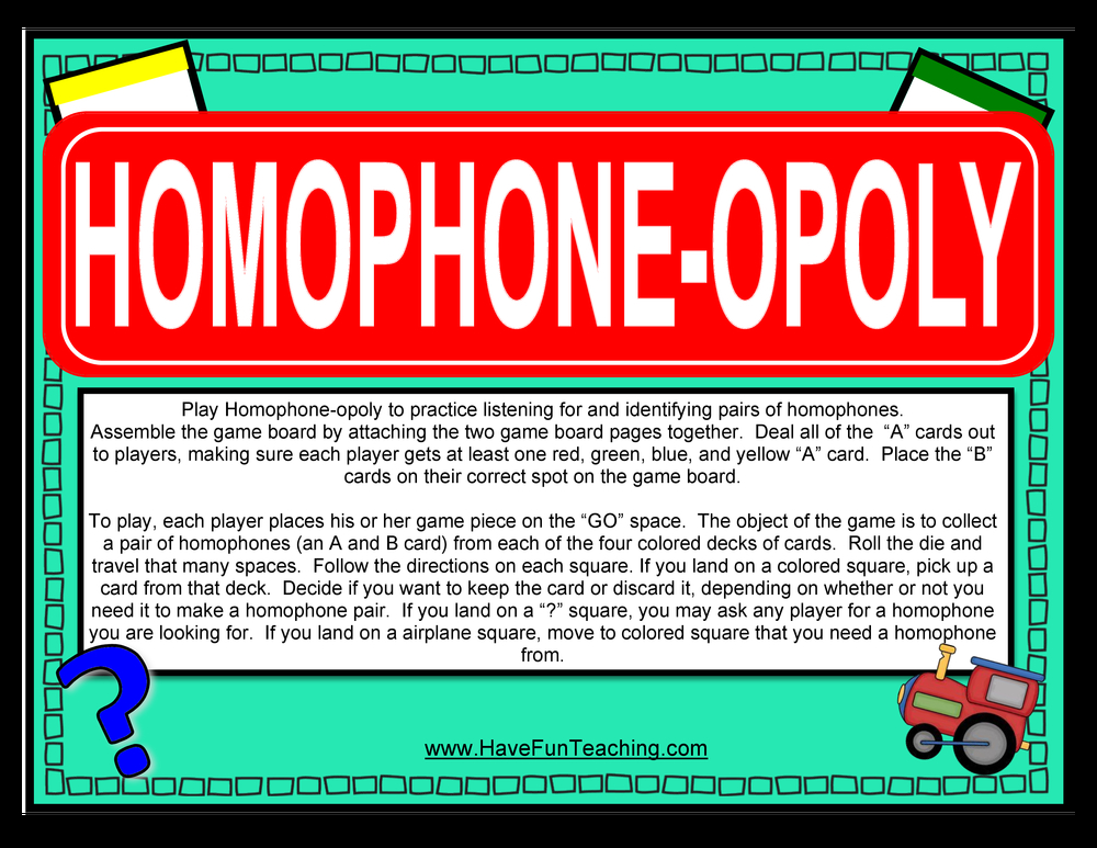 Homophones Activities Have Fun Teaching
