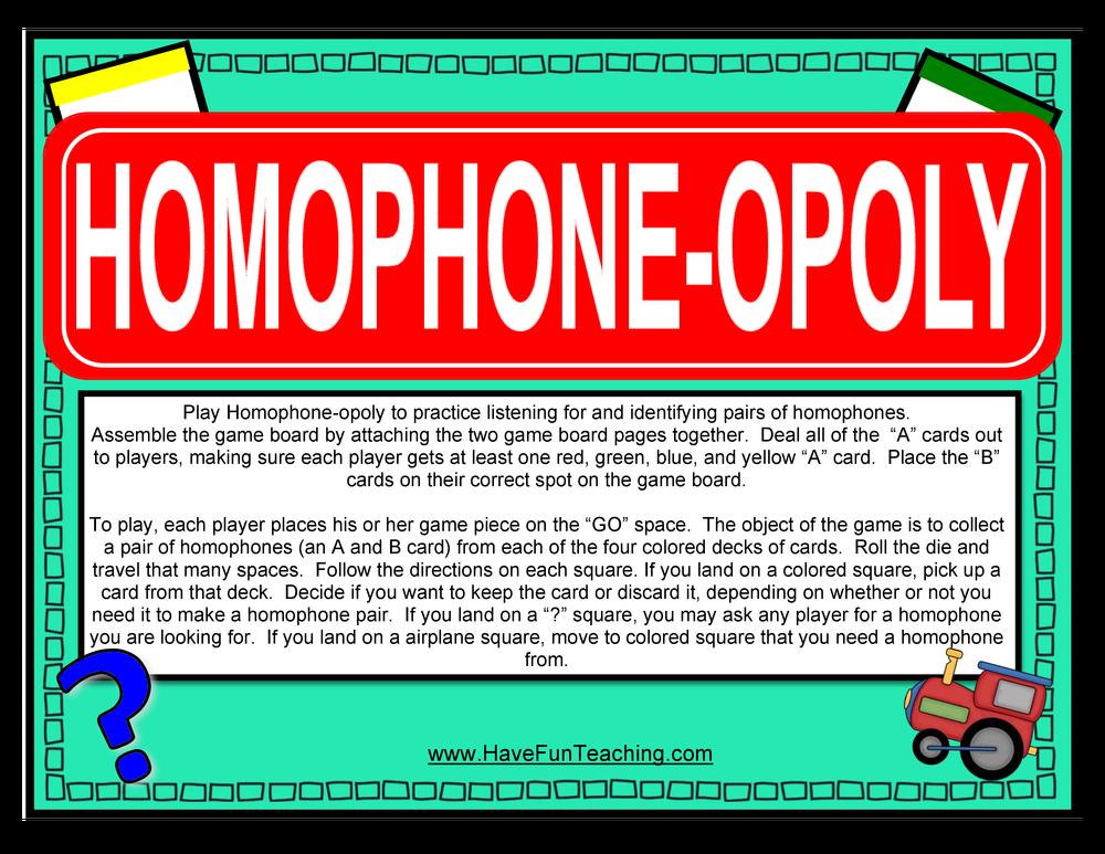 homophoneopoly homophone activity