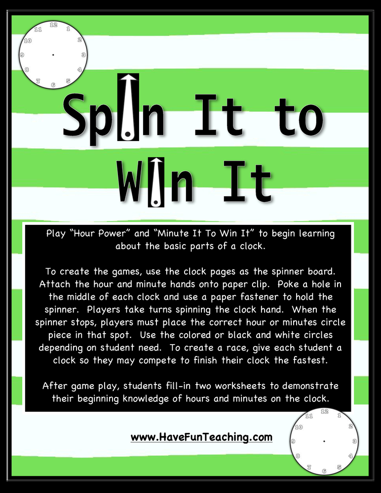 Spin It to Win It Telling Time Activity