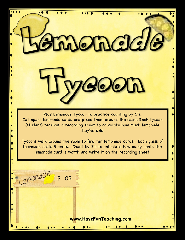 Lemonade Tycoon Counting by Fives Activity