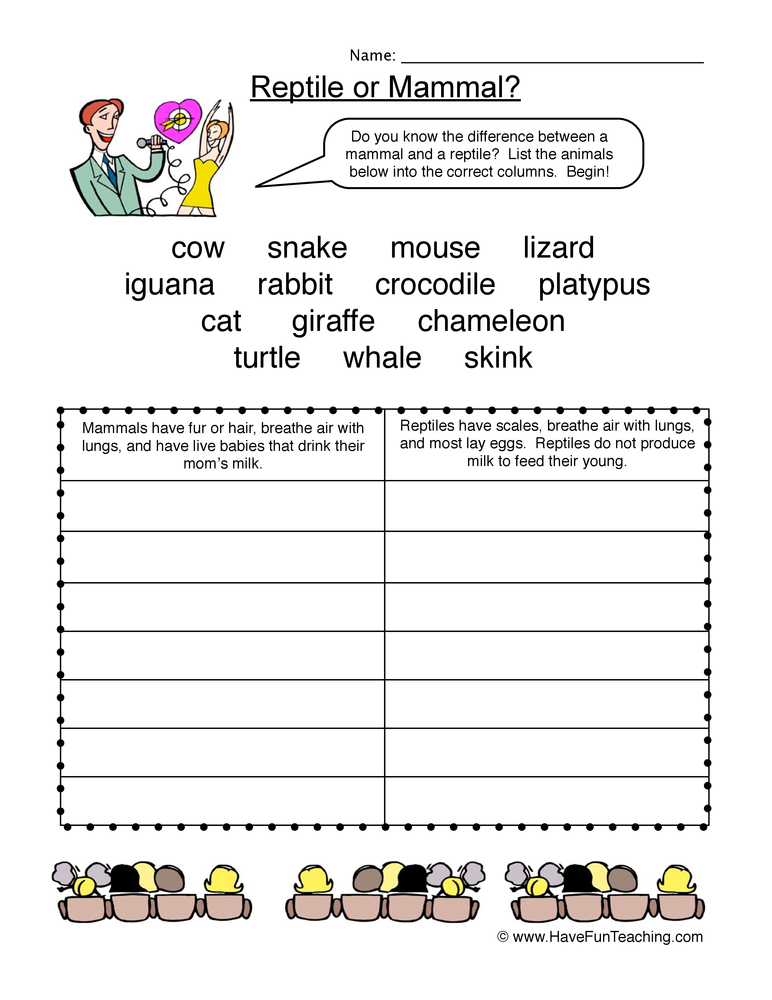 mammal vs reptile worksheet 1